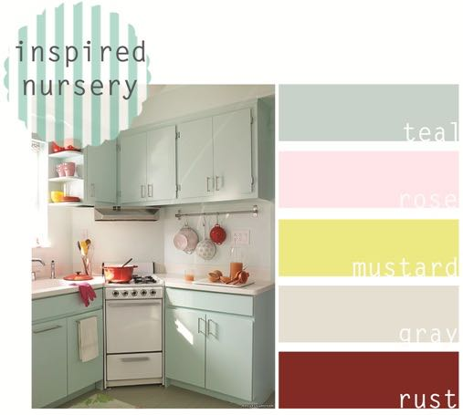 Retro Nursery Inspiration: Teal, Pink And Yellow
