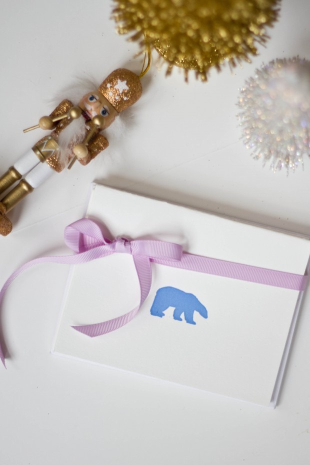 polar bear letterpress card set