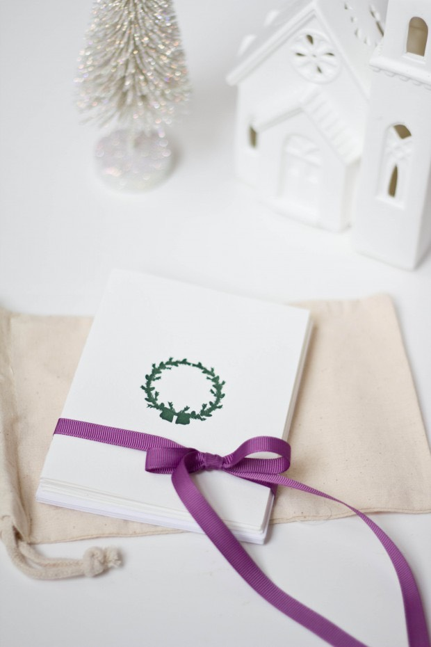 wreath letterpress card set