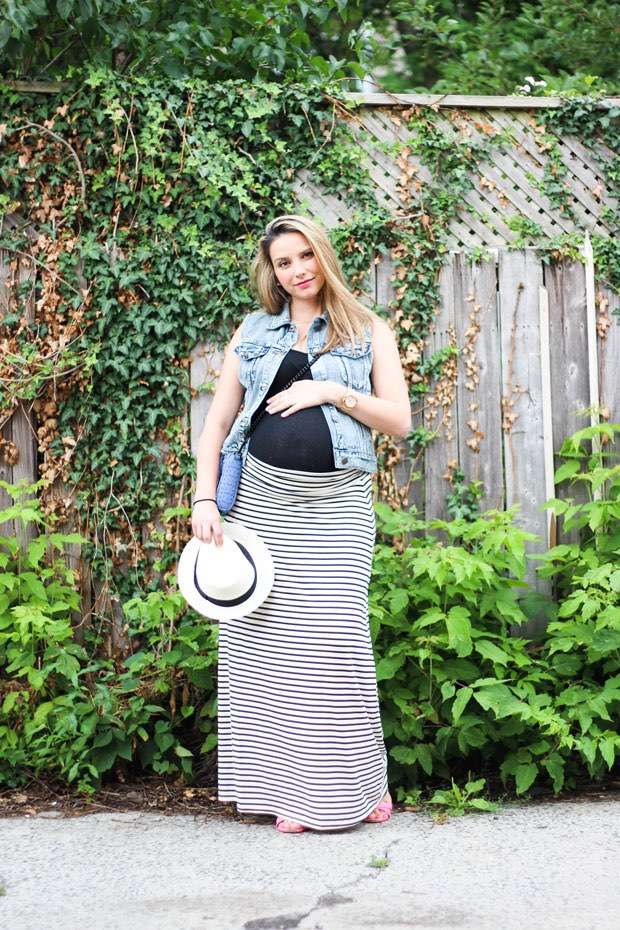 pregnancy striped maxi skirt